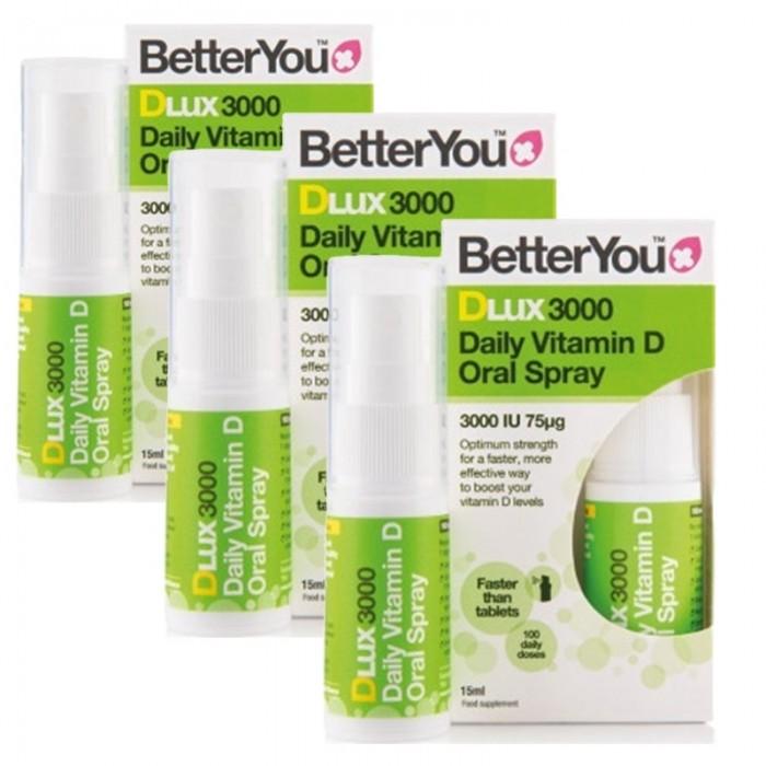 Economy Pack 3 x DLux 3000 Vitamin D Oral Spray (15ml), BetterYou