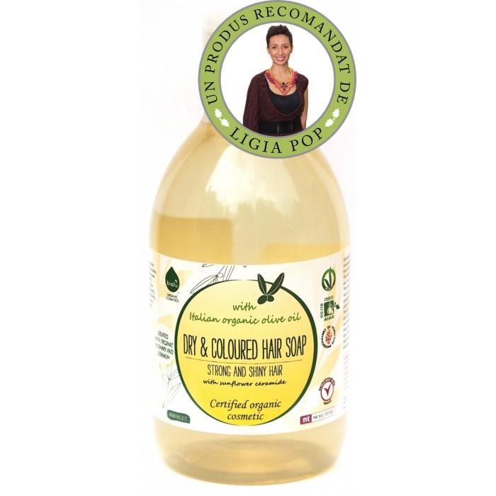 Sampon ecologic cu ulei de masline pentru par uscat/vopsit (300 ml)