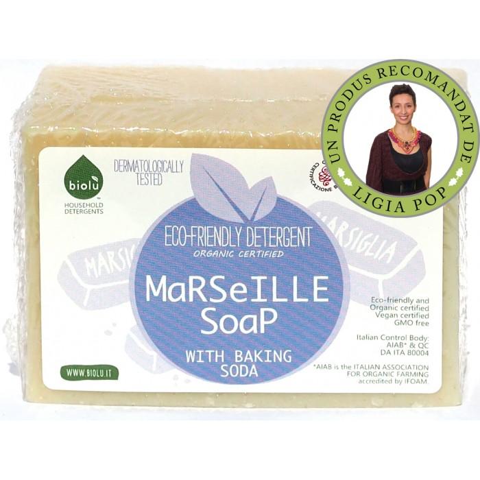 Sapun solid de Marsilia, ecologic pentru rufe, Biolu (140 grame)