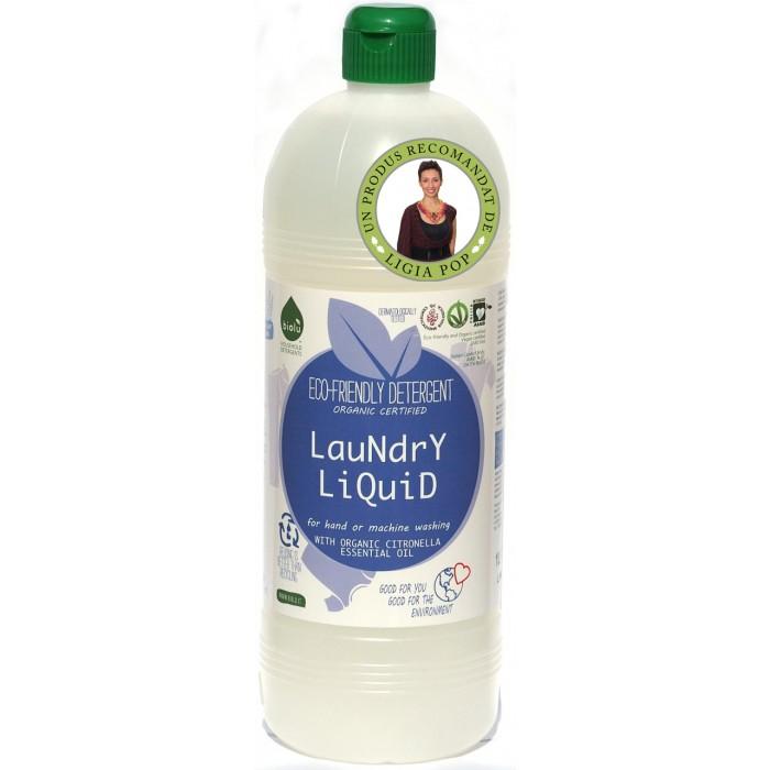 Detergent ecologic lichid pentru rufe albe si colorate cu lamaie, Biolu (1 litru)
