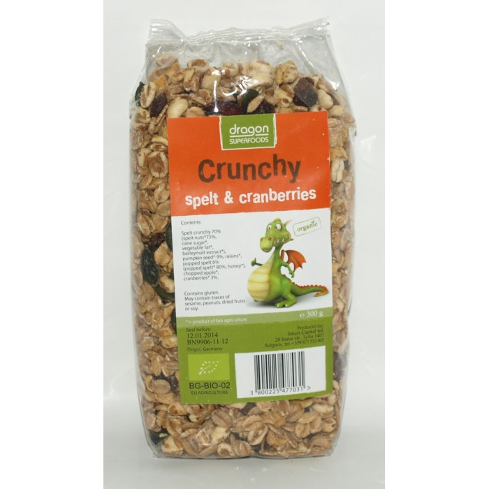 Crunchy cu spelta si merisor bio (300 grame)