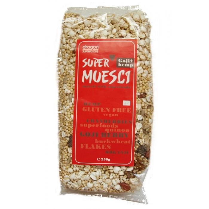 Supermuesli cu goji si seminte de canepa bio (250 grame)