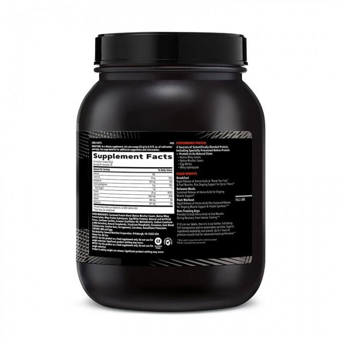 AMP Sustained Protein Blend Amestec proteic cu aroma de cereale cu scortisoara (924 grame), GNC