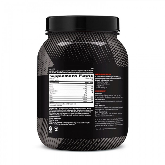 AMP Sustained Protein Blend Amestec proteic cu aroma de pufuleti cu unt de arahide (924 grame), GNC