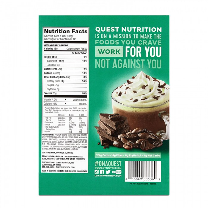 Quest Baton proteic cu fulgi de ciocolata si cafea (60 grame), GNC