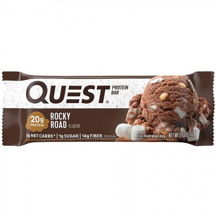 Quest Baton proteic cu aroma de Rocky Road (60 grame), GNC