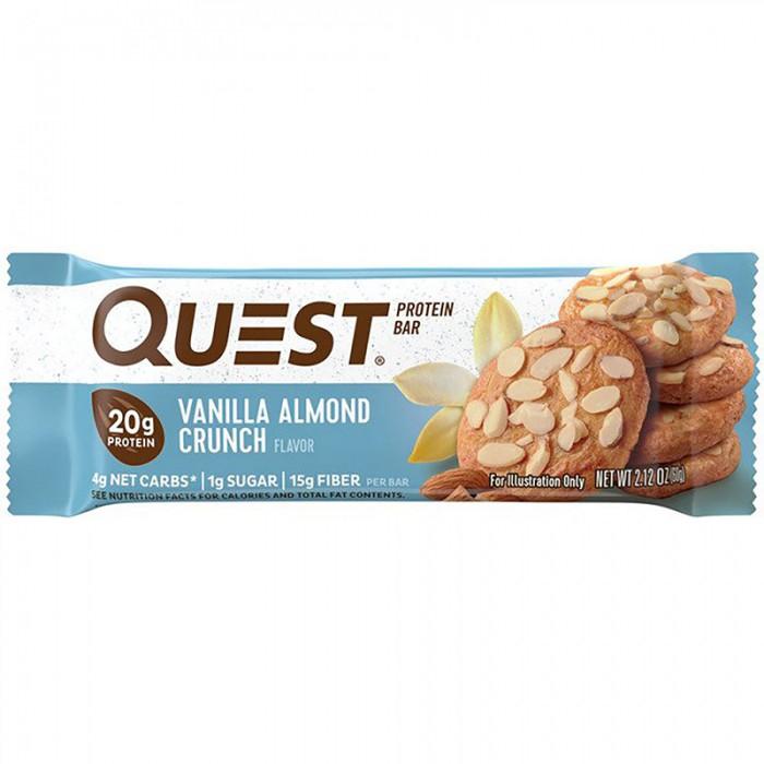 Quest Baton proteic cu aroma de vanilie si migdale (60 grame), GNC
