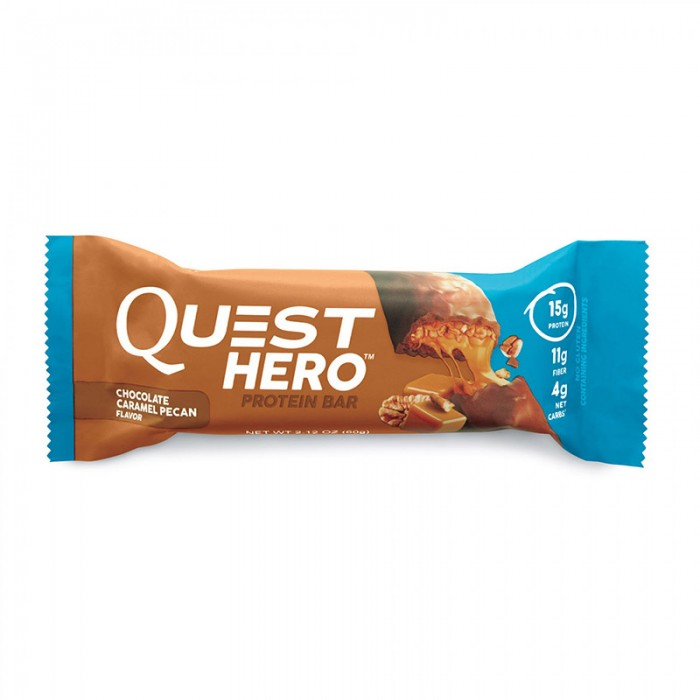 Quest Hero Baton proteic cu ciocolata, nuci pecan si caramel (60 grame), GNC