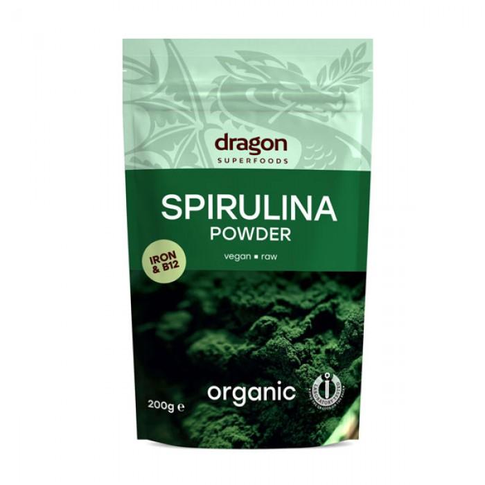 Spirulina pulbere raw bio (200 grame)