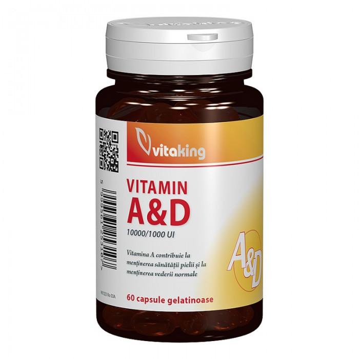Vitamina A si D 10000 / 1000 UI (60 capsule), Vitaking