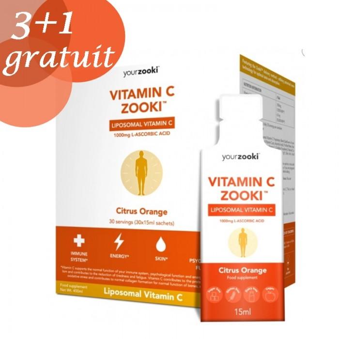 Promo 3+1 Gratuit Vitamina C lipozomala Zooki (30 pliculete x 1000mg), YourZooki