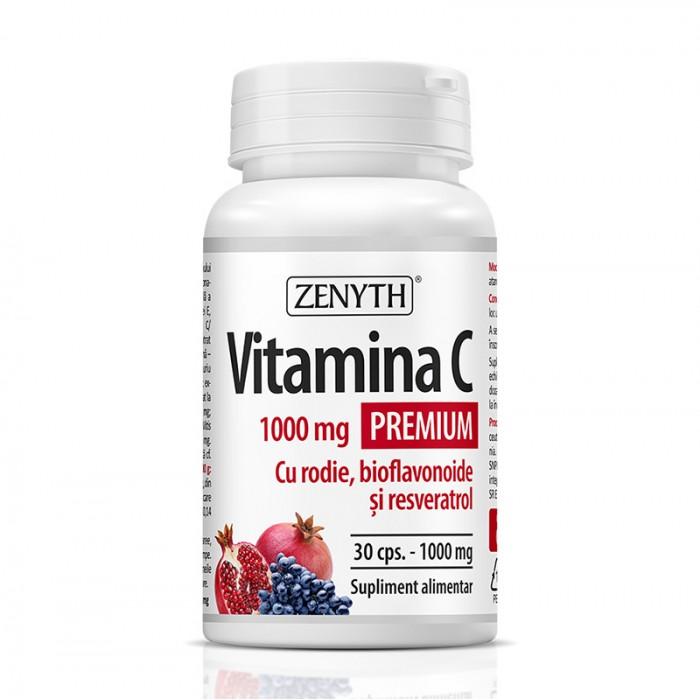 Vitamina C Premium 1000 mg cu rodie si bioflavonoide (30 capsule), Zenyth Pharmaceuticals